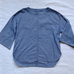 J Crew Swing Top Chambray Denim 3/4 Sleeve Blue